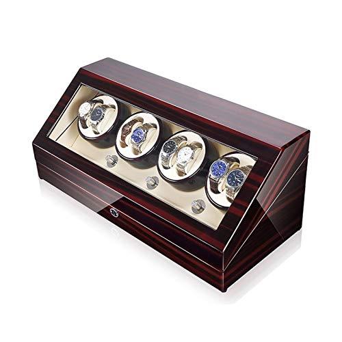 LJP Caja automática de cuerda de reloj de madera, 5 motores giratorios y japoneses, se adapta a la mayoría de relojes mecánicos giratorios y para 8+12 cajas de almacenamiento de relojes, blanco,