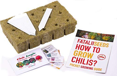 World Camous FataliiSeeds Kit de graines de piments de piment de première qualité pour débutants – Sélection de graines de piment, guide de poche, support de laine de roche et étiquettes pour plantes