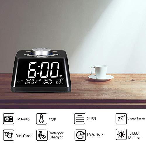 RENQIAN wekkerradio instelbaar volume display temperatuur dimmer dual alarm digitale klok met Fm radio USB/batterij tafelklok