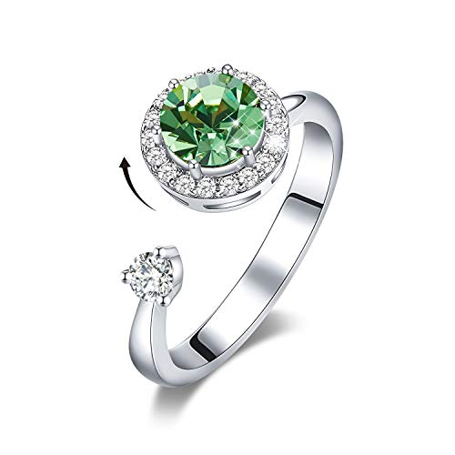 CDE Rings for Women Rotating Birthstone Embellished with Crystals from Swarovski White/Rose Gold Plated Adjustable Size 5-9(Green, 18ct White Gold)