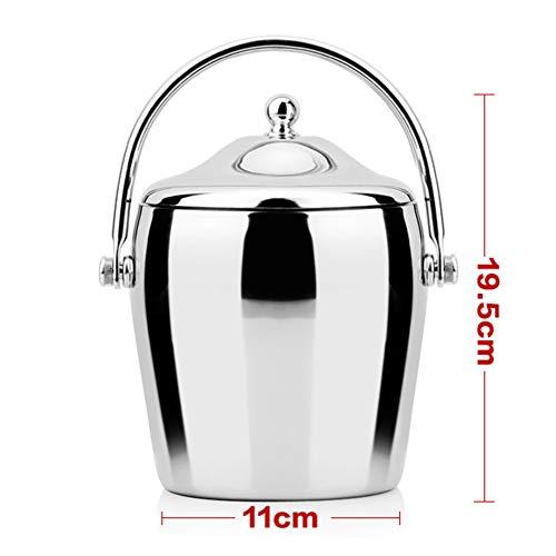 Eiskübel mit Deckel 2 Liter 1,56L Doppelwandiger isolierter Tragegriff aus Edelstahl FENGMING (Farbe : Bright Light, größe : 1.5L)