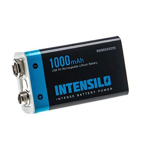 INTENSILO 9V-Akku Block Blockbatterie für Diverse Geräte (1000mAh, 9V, Li-Ion), wiederaufladbar, Ready-to-use, mit Micro USB Buchse