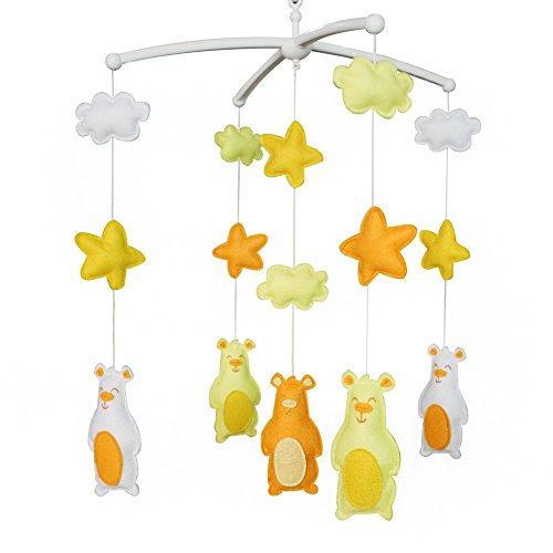 Creative Bébé Jouets Cadeau D'anniversaire Décor de Maison Fait Maison Drôle Nouveau-Né Berceau Bell Musical Berceau Mobile pour 0-2 Ans (Big Bear)