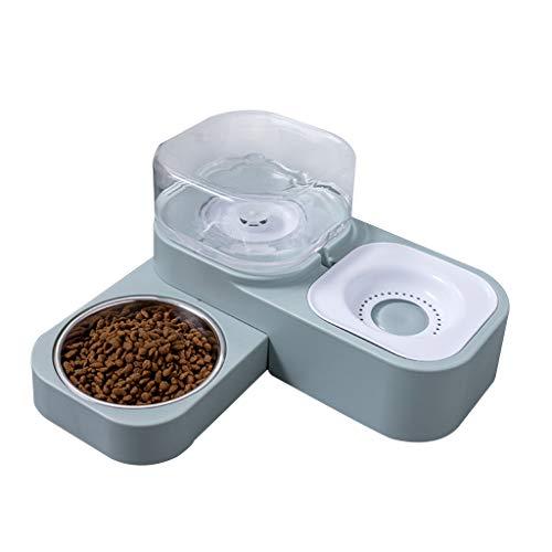 Boji Dispensador automático de agua 2 en 1, dispensador de agua para gatos y perros, a prueba de fugas, con botella, comedero para perros, comedero para perros, antirebosadero, antideslizante