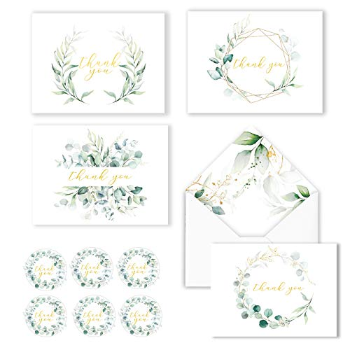 100 Eucalyptus Gold Foil Thank You Cards Bulk -- Blank Note Cards with Greenery Envelopes – Include Stickers, Perfect for Wedding,Baby Shower, Bridal Shower and All Occasions