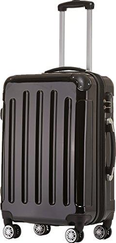 BEIBYE Zwillingsrollen 2048 Hartschale Trolley Koffer Reisekoffer Taschen Gepäck in M-L-XL-Set (Schwarz, M)