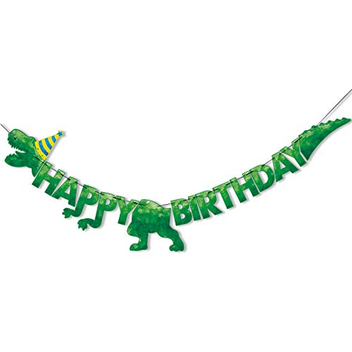 Watercolor Dinosaur HAPPY BIRTHDAY Banner - Dinosaur Birthday Party Decorations for Boys Kids Dino Theme Party Supplies T-Rex Hanging Wall Decor Pre-Strung