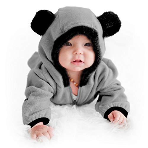 Funzies Veste légère en Laine Polaire - vêtement d'extérieur Pyjama pour bébé Ours Gris 0-3 Mois
