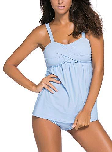 Aleumdr Damen Bold Straps Swim Top mit Slip Tankini Set Badeanzug Blau Üergröße XXXL
