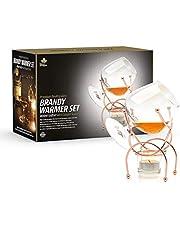 Bar Amigos - Calentador de brandy y coñac con velas de té, portavelas y soporte de cobre