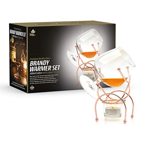 Brandy & Cognac Snifter Warmer Glass COPPER Stand Gift Set with Tea light Candle & Copper Holder - Premium Drinking Set