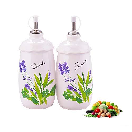 Botella dispensadora de cerámica de vinagre de aceite, 600 ml, pintada a...