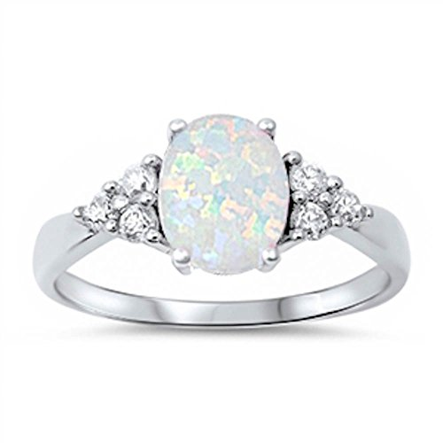 Oval Lab Created White Opal & White Simulated Diamond Ring Size 9