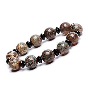 ZenBless Tibetisches Armband mit Dzi-Perlen (14 mm) und Fengshui-Amulett-Armreif zieht positive Energie und Glück an.