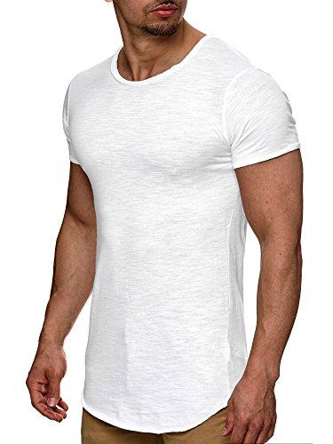 Indicode Herren Willbur Tee T-Shirt mit Rundhals-Ausschnitt aus 100% Baumwolle | Regular Fit Kurzarm Shirt einfarbig od. Kontrast Markenshirt in 30 Farben S-3XL für Männer White S