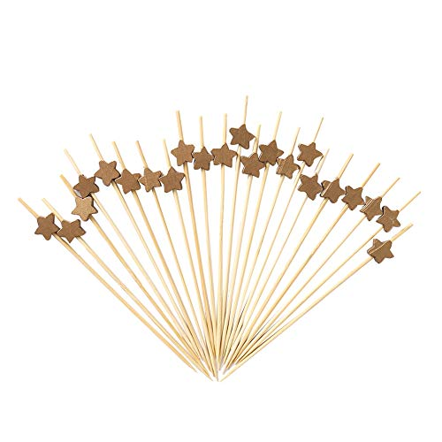 Anchengcraft 200 Pieces Bamboo Cocktail Toothpicks Decorative Fruit Skewers Appetizer Toothpicks Wooden Party Picks for Appetizer, Drink, Sandwich and Cupcake (02)