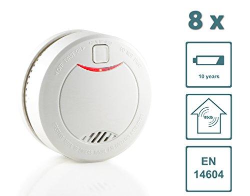 Slabo Detector de Humo/Detector de Incendios/Detector de Incendios con batería de 10 años y Sensor fotoeléctrico – Blanco - 8 Unidad