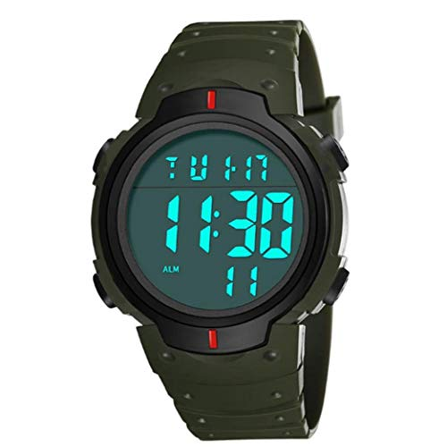 Hiinice Pantalla Estudiantes Reloj Digital Reloj electrónico Impermeable con Cuero Brazalete Grande Camisa Cara Militar Luminoso Verde cronómetro Llevar Latido del corazón