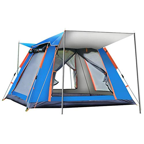 QYY Tent Lightweight Portable Backpacking, Automatic Outdoor Family Camping Rainproof Self-driving Tent Pop Up Venting Design, Provide Moisture-proof PadBlue