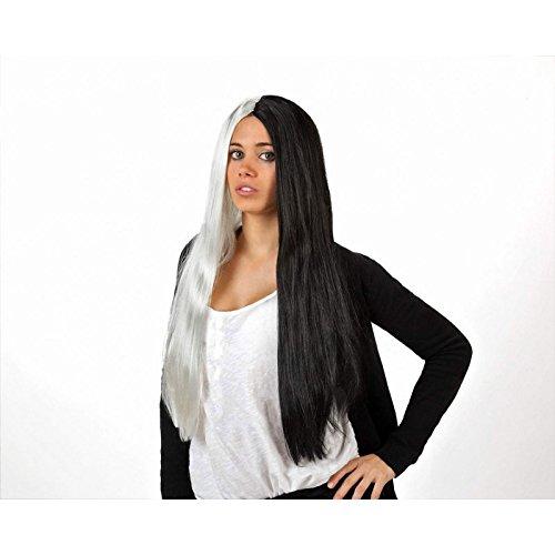 Perruque cheveux raides longs noir et blanc - Adulte : Standard - Taille unique