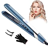 Flat Iron Hair Straightener and Curling Iron, 2 in 1 Flat Iron Hair Straightener, LCD Temperature Display,Auto Shut-Off,for All Hair Types