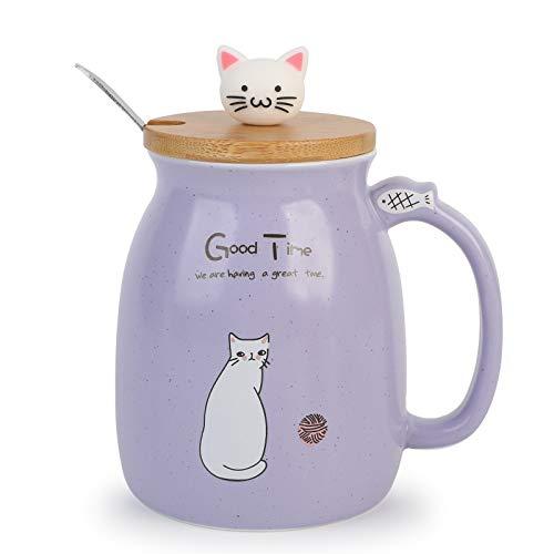 Taza de Desayuno para Regalar a Amigos Taza de Café Gato 450ml...