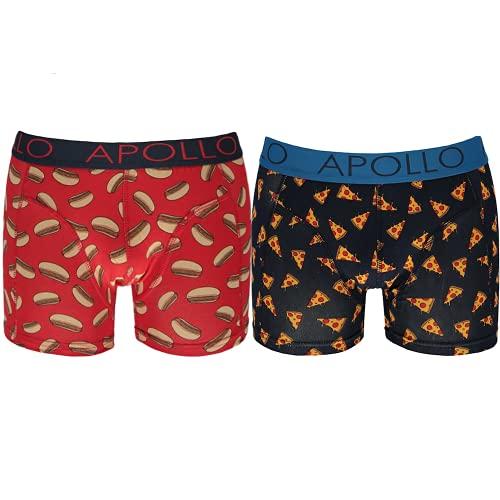 Geschenkbox Baumwolle Boxershorts (2er Pack) Herren Unterhosen Männer lustige Motive Smiley Pizza Palmen Hifi Kassette LP aus Baumwolle Unterhose ( In einer Geschenkbox verpackt ) (Pizza, l)