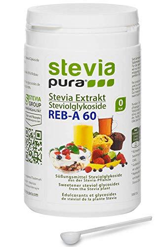 stevia-pura | Reines, hochkonzentriertes Stevia Extrakt Pulver (Steviosid) 100g | Tafelsüße auf Basis von Steviolglycosiden aus der Stevia Pflanze (Stevia rebaudiana) und Rebaudiosid-A 60