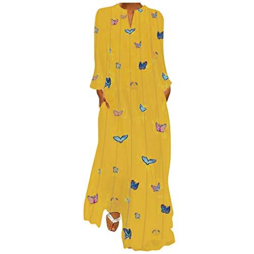 LOPILY Damen Kleider Schmetterling Druckkleid Gestreifte Blusenkleider Hippie Lange Tunika Kleid Große Größen Bunte Abendkleider Elegant Cocktailkleid für Hochzeitgast bis Gr.48