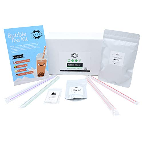 DIY Bubble tea making kit, complete with boba tapioca pearls, straws, and diy tea bags