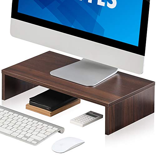 FITUEYES Wood Monitor Stand Brown PC Laptop Computer Screen Riser 42.5x23.5x10cm DT104203WB