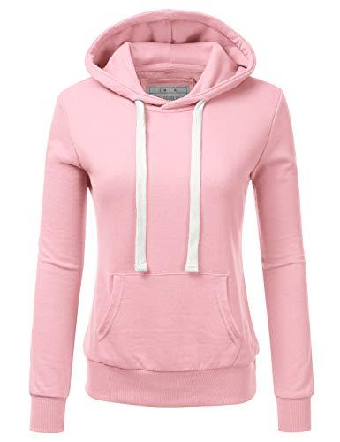 DOUBLJU Basic Lightweight Pullover Hoodie Sweatshirt for Women CANDYPINK X-Large
