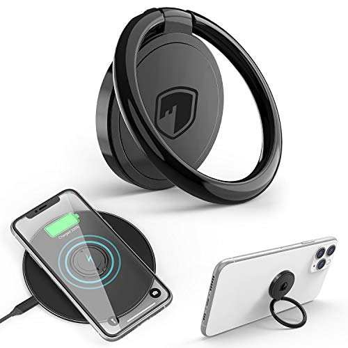Phone Ring Holder Wireless Charging Compatible - FITFORT 360° Rotation Anti-Scratch Ceramic Ring Grip Compatible with All Wireless Charging Cell Phones-Black
