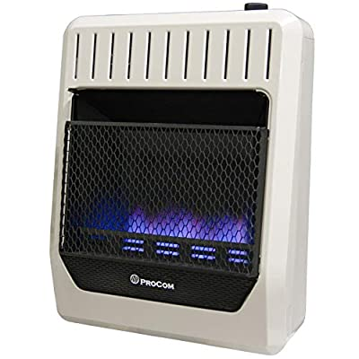 ProCom MG20TBF Ventless Dual Fuel Blue Flame Thermostat Control Wall Heater, 20,000 BTU, White