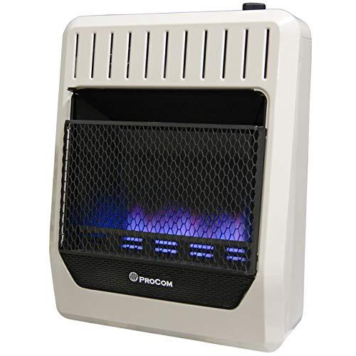 ProCom MG20TBF Ventless Dual Fuel Blue Flame Thermostat Control Wall Heater, 20,000 BTU, White