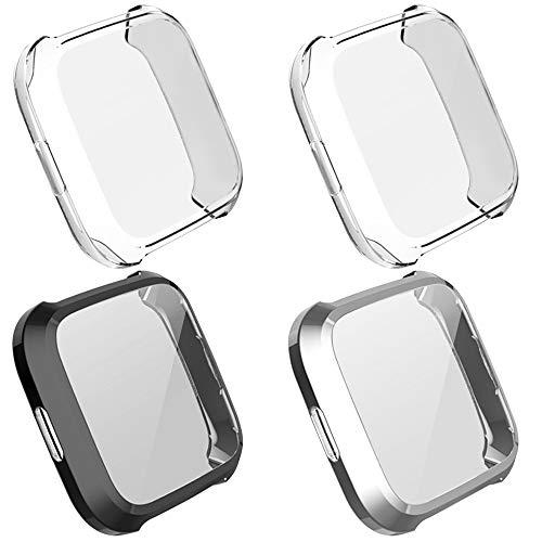 AFUNTA 4 piezas funda protectora compatible Versa Lite reloj inteligente, protector de pantalla de TPU suave protector de pantalla Shell Watch Protection - negro, plateado, transparente
