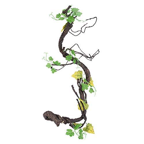 Oumefar Künstliche Reptilien Vine Climber Jungle Forest Bend Zweig Terrarium Cage Decor Künstliche Kletterpflanzen für Eidechsen Frösche Schlangen(L)