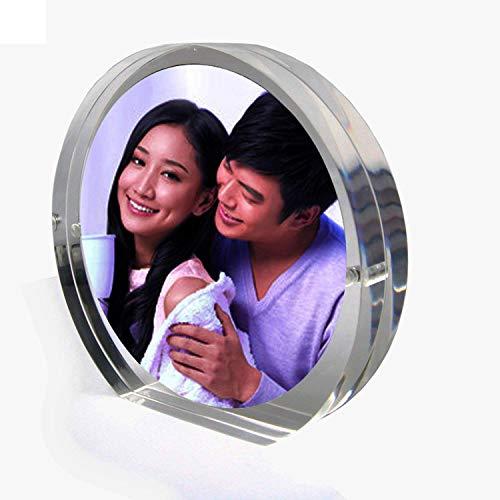 Exquisito alta transparente redondo acrílico/plexiglás Marcos de fotos con cierre magnético,marco del bebé acrílico