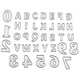 SPTwj - Fustelle in metallo con lettere maiuscole numerali e punzonatrici, utensili da taglio fai da te per la casa, goffratura a mano, cartoline, scrapbook in metallo fustellato (36 pezzi)