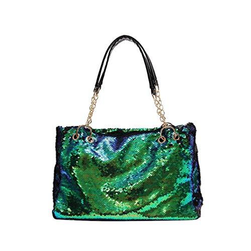 Fenical tote geldbörse pailletten handtasche reißverschluss umhängetasche glitzer tasche für damen damen mädchen - grün