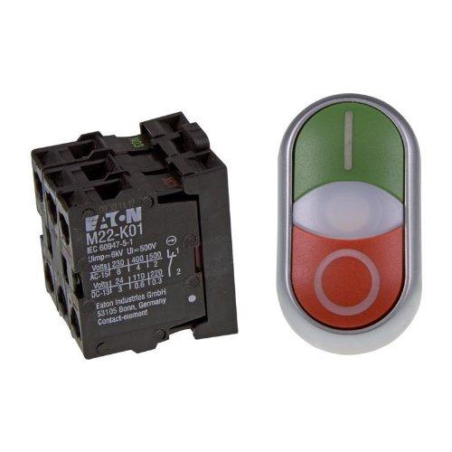 Eaton 216509 Doppeldrucktaster, 1 Schließer + 1 Öffner, LED 85-264 V AC, Schraubanschluss