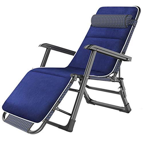 Tumbonas Sillas Mecedoras Sillas Reclinables Azules para Patio con Cojín, Sillón Reclinable con Bloqueo de Gravedad Cero para Terraza de Piscina Al Aire Libre, Soporte de 440 LB