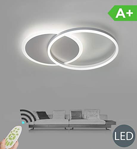 LED Deckenleuchte Dimmbare Wohnzimmerlampe Ring Designer Deckenlampe Mit Fernbedienung Mode Deckenlampe Minimalistisches Metall Acryl Beleuchtung Schlafzimmer Küche Esszimmer Lichter,Weiß,Twolaps