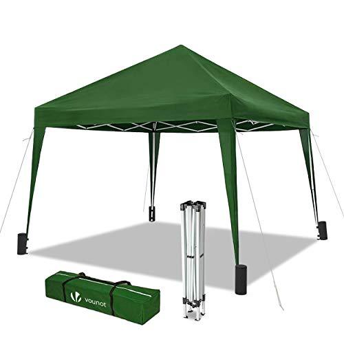 VOUNOT Pavillon Faltbar 3x3m Wasserdicht, mit 4 Sandsäcke, Pop Up Faltpavillon, UV-Schutz 50+, Grün