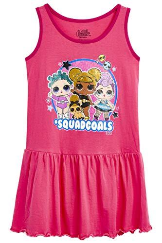 L.O.L. Surprise ! Kleid Für Mädchen | Kinderkleid Rosa Ärmellos | Kinder Madchen Sommerkleider 100% Baumwolle | Kinder Nachthemd | LOL Confetti Pop Kleidung! (9/10 Jahre)