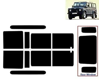 Film Solaire Prédécoupé Teinté pour-Land Rover Defender 110 5-Portes 1991-2007 Vitres Arrière & Lunette (50% Noir Fumé Léger)