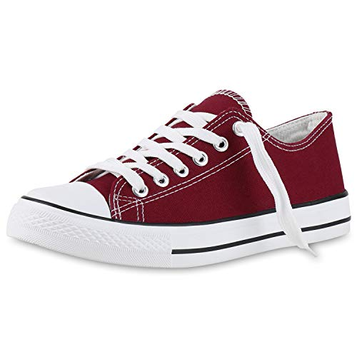 SCARPE VITA Damen Sneakers Stoffschuhe Sportschuhe Schnürer Freizeit Schuhe 140785 Dunkelrot Basic 38