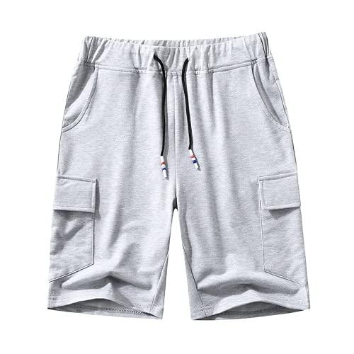 LAYAN-B Pantalones cortos de algodón para hombre, para entrenamiento, verano, gimnasio, con bolsillos
