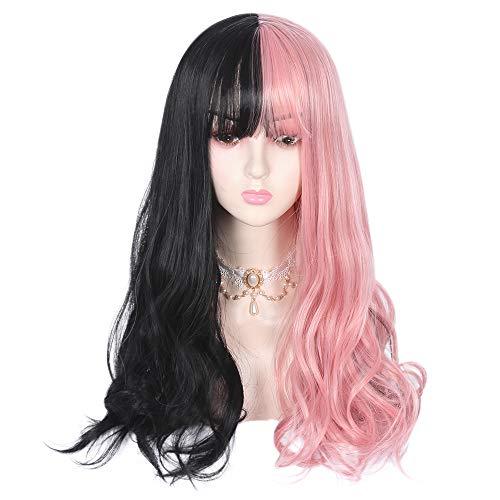 "24"" Half Black Half Pink Long Cosplay Wig with Bangs Lolita Wavy Harajuku Cute Daily Party Women Girls Costume Hair Mothers Day Gifts"