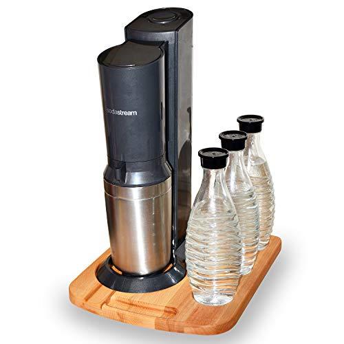 Premium Gleitbrett für Sodastream Wassersprudler - Unterlage mit 3 Flaschenhaltern & Griffmulde - Holz (Bambus)